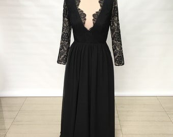 V-neck Black Lace Chiffon Long Prom Dress 2018 with Illusion Back Long Sleeves