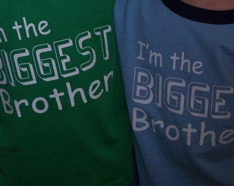 Big Brother shirt Sibling Announcement Shirt - Big, Baby, Biggest, Brother Or Sister Lot Of 3 Shirts