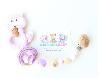 ADBS-M2 - Purple raccoon teething tie / Silicone tie / Teething / Baby gift / Baby accessories