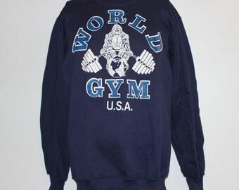 Vintage World Gym Bodybuilder Crewneck Sweatshirt L