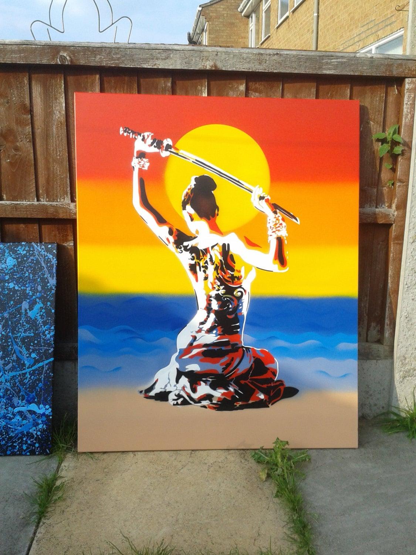 Geisha japonesa desnudo con samurai espada pintura plantilla