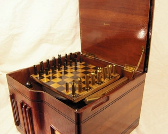 Vintage Emerson 78 record player / bullet shell chess set- Free Shipping to U.S.