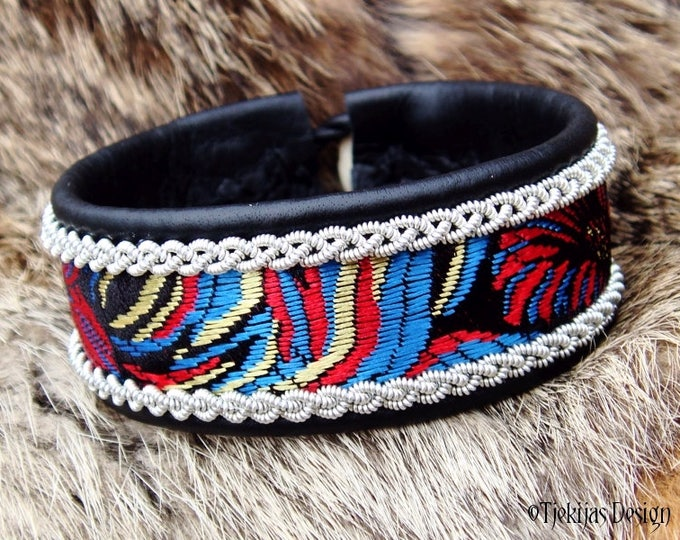 Black Leather Viking Cuff Bracelet IDAVANG Sami style Norse Bracelet with Pewter Braids and Beautiful Silk Brocade