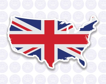 British American Flag Decal - Union Jack British Expat Decal Bumper Sticker - American British Flag - British Expat Laptop Decal - UK in USA