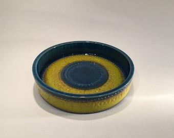Aldo Londi  Bitossi blue and yellow bowl, Italien mid century modern