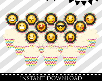 Emoji Cupcake Toppers  - INSTANT DOWNLOAD