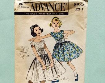 Advance pattern 8933,  1950's, girl party dress, size 8.