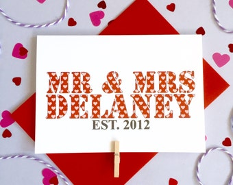 Mr and Mrs Established Card – Personalised Date Wedding Card – Card for Couples – wedding card for husband wife  – wedding card newlyweds