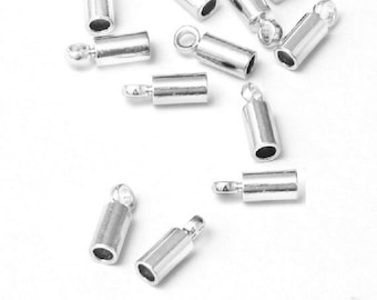 50pc 8x3mm silver finish brass made cord end-8369