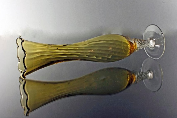 Amber Bud Vase, Hand Blown Glass, Clear Glass Base, Clear Glass Swirled Stem, Pedestal Bud Vase, Fluted Top, Yellow Bud Vase
