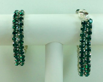 Emerald Glitterati Bracelet - Swarovski Crystals, Magnetic Clasp, Silver