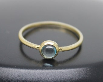 London Blue Topaz Ring, 18k Solid Gold Ring, Thin Gold Ring, Stacking Ring, Stackable Ring, Solitaire Ring, December Birthstone Ring