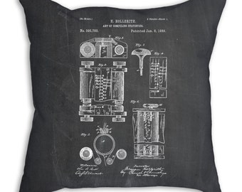 Hollerith Machine Patent Pillow, Computer Pillow, Tech Gift, Computer Patent, Technology Art, Computer Geek Gifts PP0110