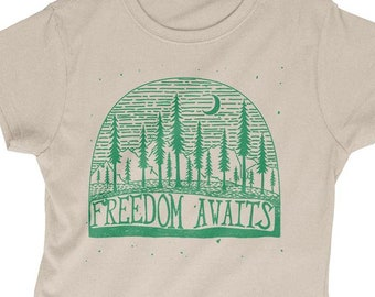 Women's Freedom Awaits T Shirt | Woods Travel Nature Hiking Camping Camper | Free Delivery to UK Customers | Various Colours Available