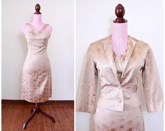 1950s VINTAGE Dress / Champagne / Satin / Embroidered / Blazer
