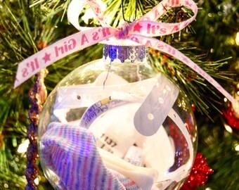 newborn ornament-newborn keepsake-babys first christmas ornament- hospital hat-hospital ornament