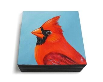 Cardinal painting - realistic red bird art - small songbird painting - backyard bird watching art - birdwatcher gift - redbird cardinal art