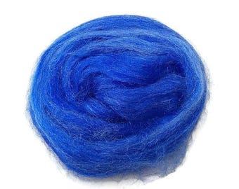 Firestar, sparkle, nylon hand dyed fiber for spinning, carding, art bats, felting, needle felting, paper making 0.5 oz, blue
