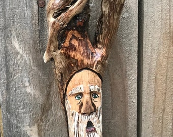 Small carved wood spirit/ tree man/ tree spirit
