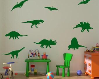 DINOSAUR x 9 PIECE SET Dino T Rex Triceratop Boys Girls Childrens Bedroom Playroom Vinyl Matt Wall Art Sticker Decal Transfer 20 colours