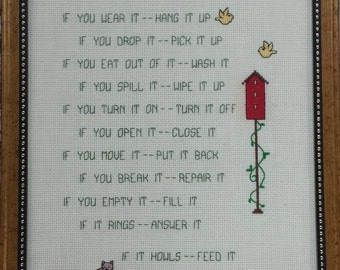 House Rules - counted cross stitch chart - downloadable chart