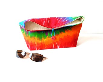 Tie dye bag, fold over clutch cotton bag, hippie bag, rainbow bag, cotton fabric, everyday bag, gift for her