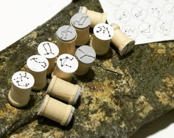 Astrological Zodiac Star Signs Rubber Stamp Set of 12