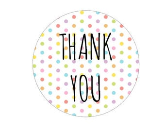 Rainbow Polka Dot Thank You Stickers Round Packaging Stickers Wedding Favor Envelope Seal Stickers Thanks Colorful Happy Stickers
