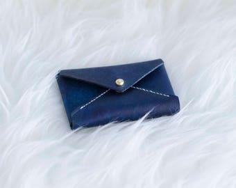 Envelope Card Holder Designed and hand sewed by LanternsHandMade. Leather Wallet, Credit Card Holder, Business Card Holder