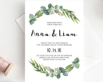 Green Wedding Invitation Template Download Green Leaf Wedding Invitation Botanical Wedding Invites Eucalyptus Wedding Stationery DIY RE1