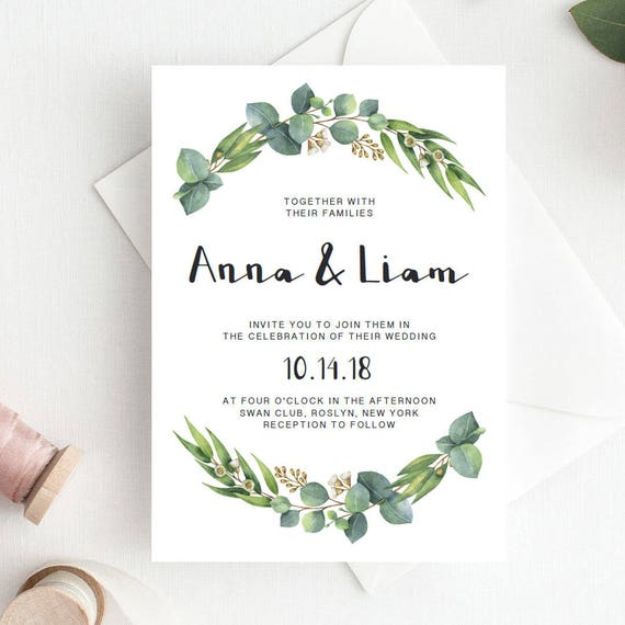 green wedding invitation template download green leaf wedding