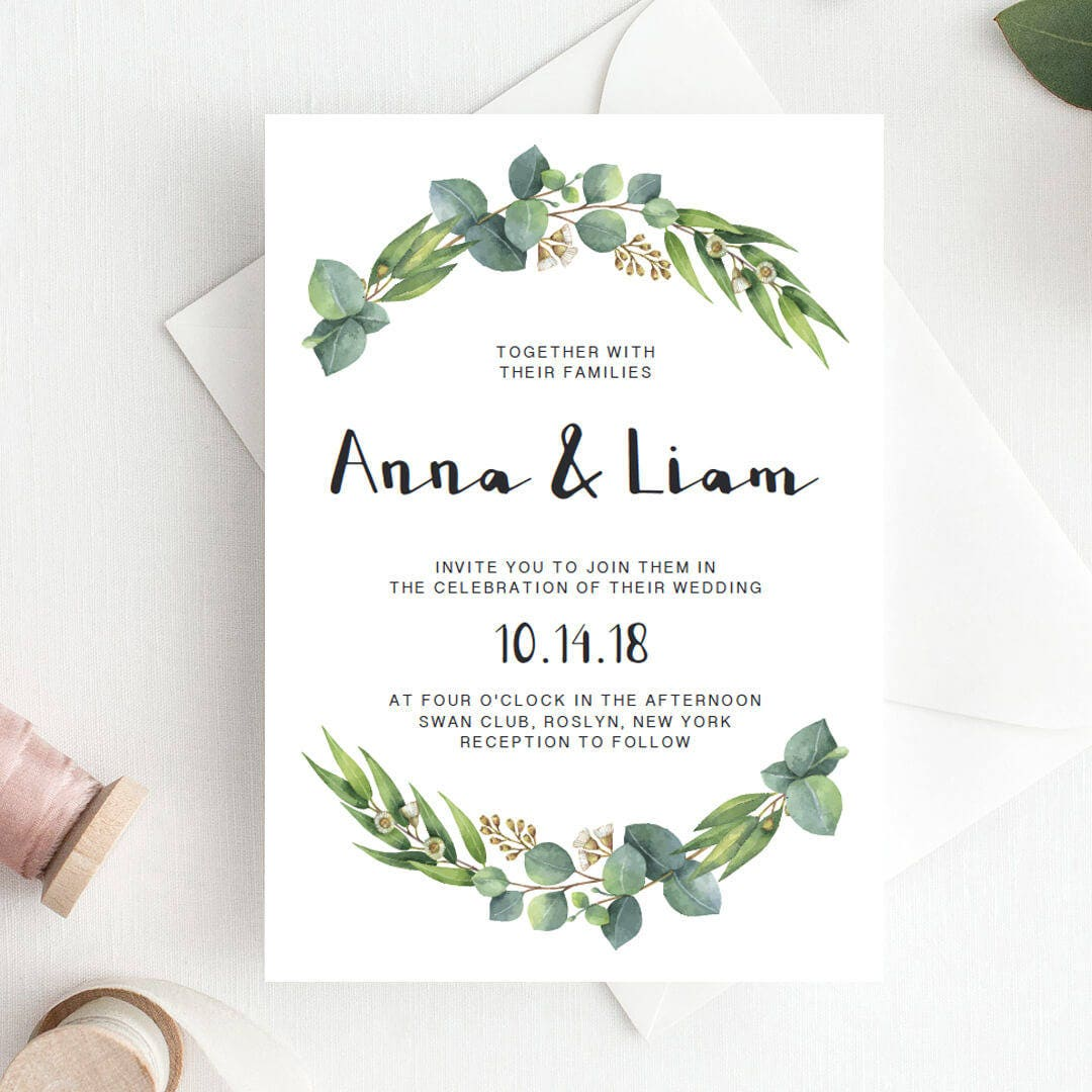 Wedding Invitation Templates: Green Wedding Invitation Template Download Green Leaf Wedding