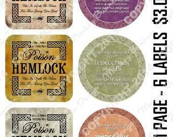 Halloween Apothecary Labels, Set Five