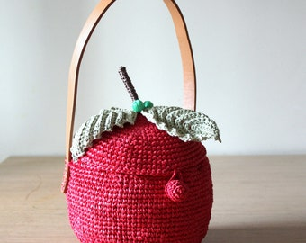Raffia Apple bag Basket bag Women's bag Straw tote bag Raffia bag Summer bags Fruit bag Crochet tote bag Red purse Handle bag Basket purse