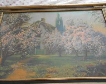 vintage country cottage spring time scene, pink trees in blossom, framed r. atkinson fox lithograph print, 1927, blossom time