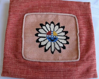 Vintage Southwest Sun Cross Stitch Decorative Pillow Cover Cottage Chic Farmhouse Shabby Peach Coral