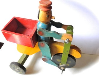 Colorful Wooden Folk Art Toy Pinocchio Boy on Tricycle // 1940s