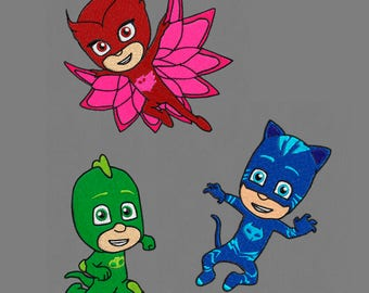 embroidery designs 3 set PJ mask 4x4 pes hus jef vp3 exp dst vip