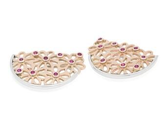 18K Rose and White Gold Ruby Earrings 3N00307