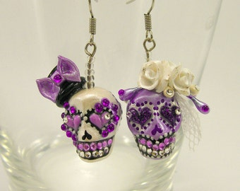 Skull the day of the dead skulls bride&groom purple earrings stone