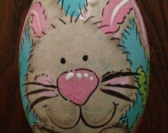 """3.25"""" Brown bunny egg, easter egg, personalized wooden egg"""