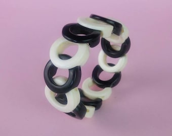 Vintage Black and white bangle chunky bracelet