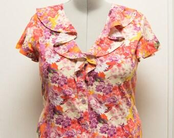 Linen L/XL Floral Ruffle Blouse