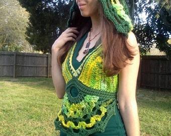 Green pixie mandala hooded halter hand dyed hand spun yarn