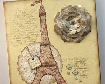 Paris Eiffel Tower Altered 12 x 12 Canvas