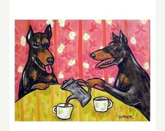 25% off Doberman Pinscher Tea Time DOG Art Print