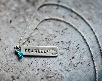 Fearless Necklace   Silver Necklace   Bar Necklace   Hand Stamped Necklace   Girlfriend Jewelry   Rustic Necklace   Inspirational