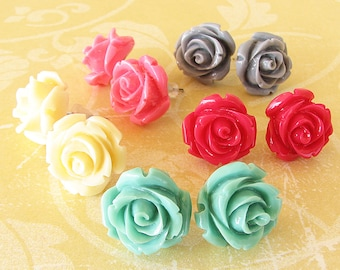 Rose Jewelry Rose Earrings Stud Earrings Resin Flower Earrings Bridesmaid Gift