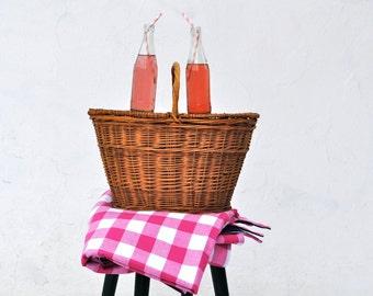 Picnic Blanket- Large Pink Gingham- Beach Blanket- Waterproof Picnic Blanket
