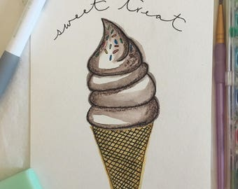 "Illustrated Watercolor Print - ""Sweet Treat"""